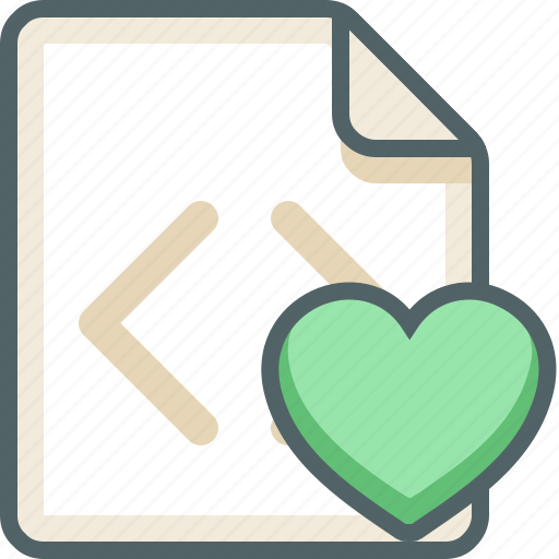 code, extension, favorite, file, heart, like, love icon