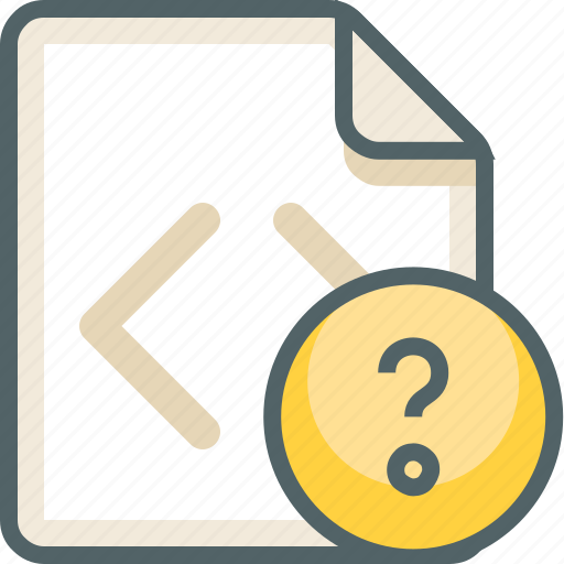 code, extension, file, format, help, question, support icon