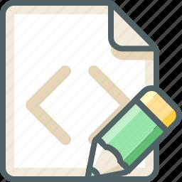 code, desgin, edit, extension, file, pen, pencil icon