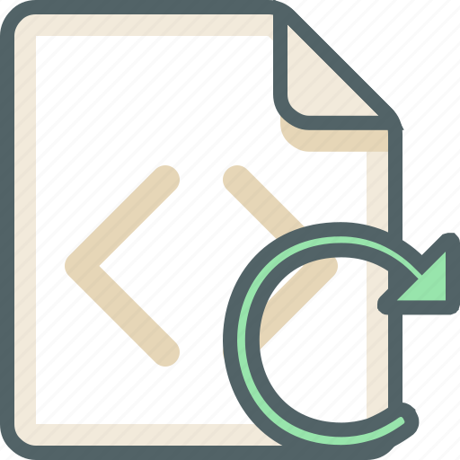 code, extension, file, format, reload, sync icon