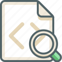 search, code, file, glass, zoom, extension, magnifier icon