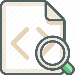 code, extension, file, glass, magnifier, search, zoom icon