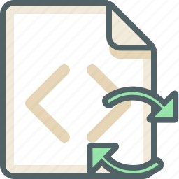 code, extension, file, format, refresh, reload, sync icon