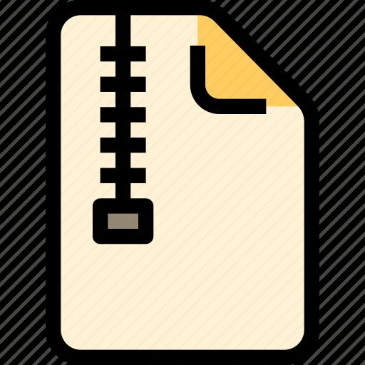 archive, compress, document, file, paper, zip icon