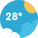 cloud, forecast, sun, temperature, weather icon