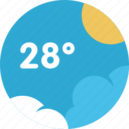 cloud, forecast, sun, temperature, weather icon