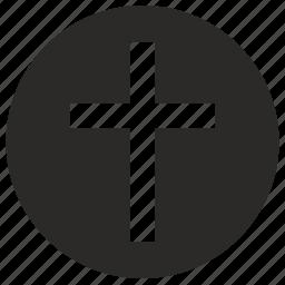 christian, cross, dead, rip, round icon