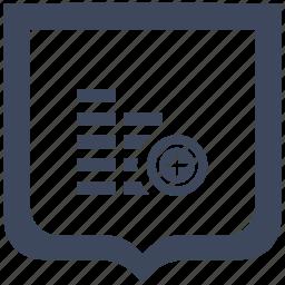 account, add, cash, create, money, shield icon
