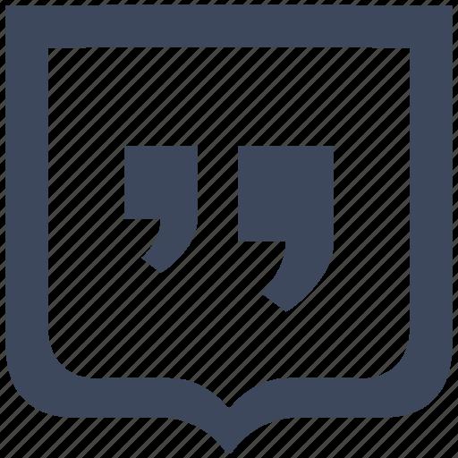 comma, edit, quote, shield, text icon