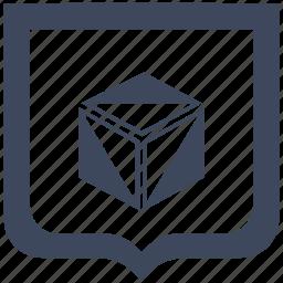 box, cube, figure, model, shield icon