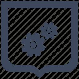 engine, gears, mechanism, settings, shield icon