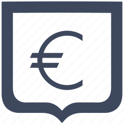 cash, euro, money, shield icon