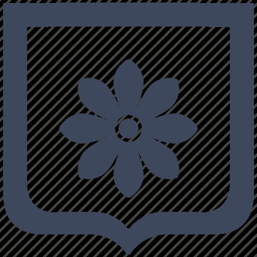 bud, flower, plant, rose, shield icon