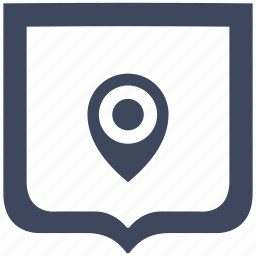 geo, navigation, place, pointer, shield icon