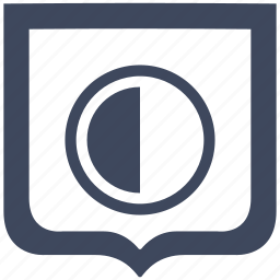 chart, contrast, half, part, shield icon