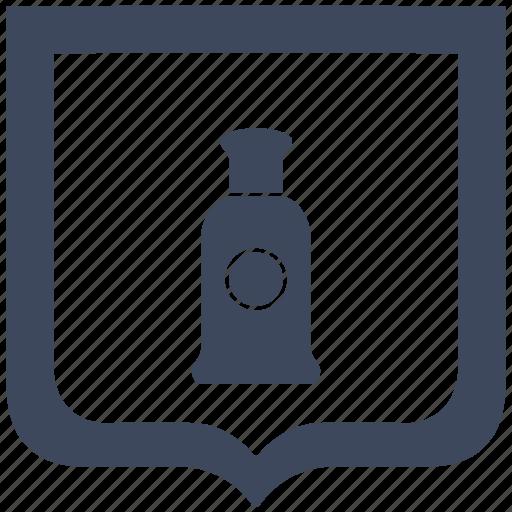 aroma, bottle, men, parfume, shield icon