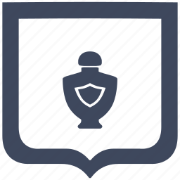 aroma, bottle, men, parfume, shield icon