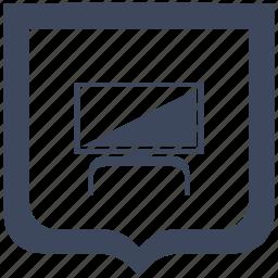 modern, plazma, set, shield, tv icon