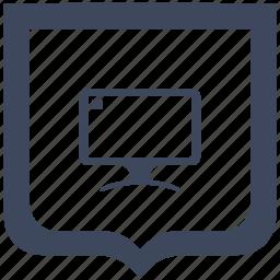 display, monitor, screen, shield icon