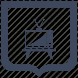 antenna, old, set, shield, tv icon
