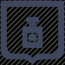 aroma, bottle, parfume, shield icon