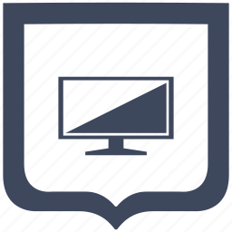 plazma, screen, set, shield, tv icon