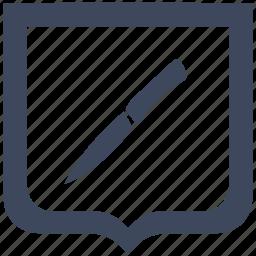 kitchen, knife, salat, shield icon