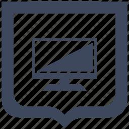 display, screen, set, shield, tv icon