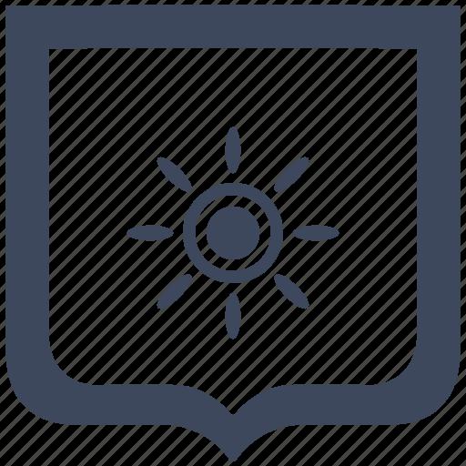 brightness, contrast, flash, shield, sun icon