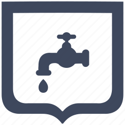 drop, shield, supply, tap, toilet, water icon