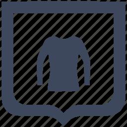 jacket, shield, shopping, wear, woman icon