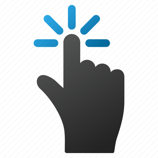 click, cursor, finger, interface, point, pointer, press icon
