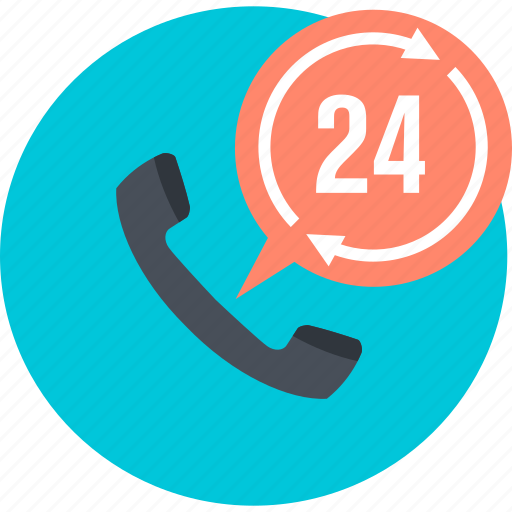 call, communication, contact, flat design, round, support, telephone icon