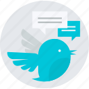 chat, comments, communication, flat design, message, round, tweet icon