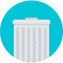 business, delete, flat design, office, recycle bin, round icon