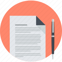business, contract, document, flat design, office, round, stationary icon