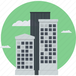 building, business, company, flat design, location, office, round icon