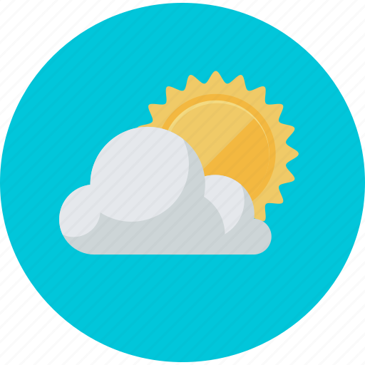flat design, forecast, partly cloudy, round, sun, weather icon