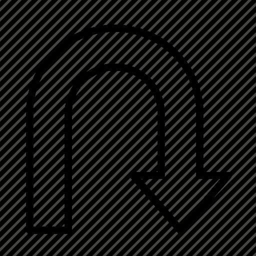 arrow, direction, navigation, right, turn, uturn icon