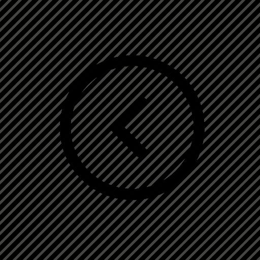 arrow, left, round icon