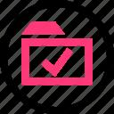 check, confirmed, folder, good, mark icon