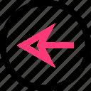 back, backwards, left, point icon