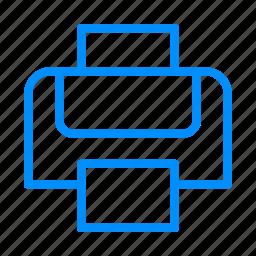 blue, papper, print, printer, printing icon