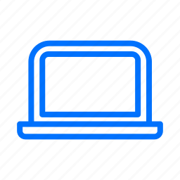 blue, computer, laptop, network, technology icon