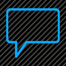 ballon, blue, chat, comment, communication, message icon