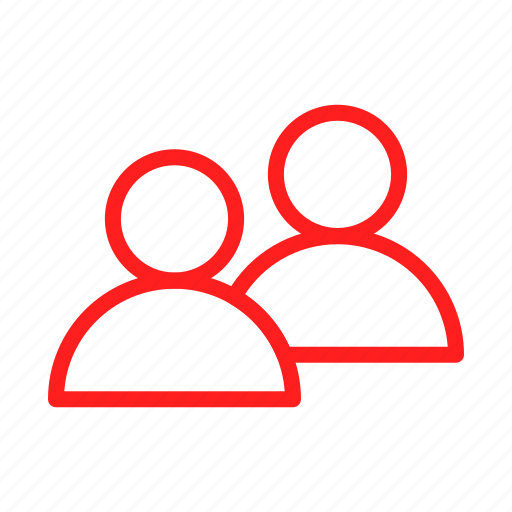 account, group, human, people, person, red, user icon