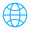 blue, browser, earth, globe, internet, network, web icon