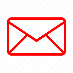 email, envelope, letter, mail, message, post, red icon