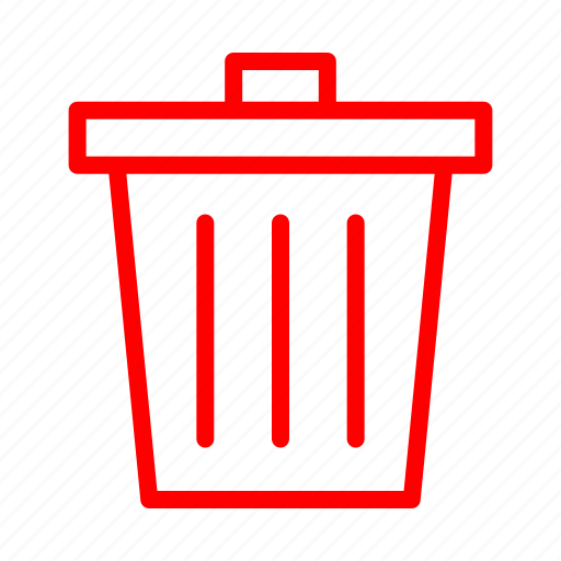 cancel, close, delete, garbage, recycle, red, remove icon