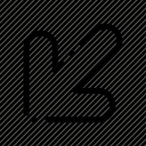arrow, down, left icon